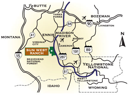Sun West Ranch location, Madison Valley, Montana
