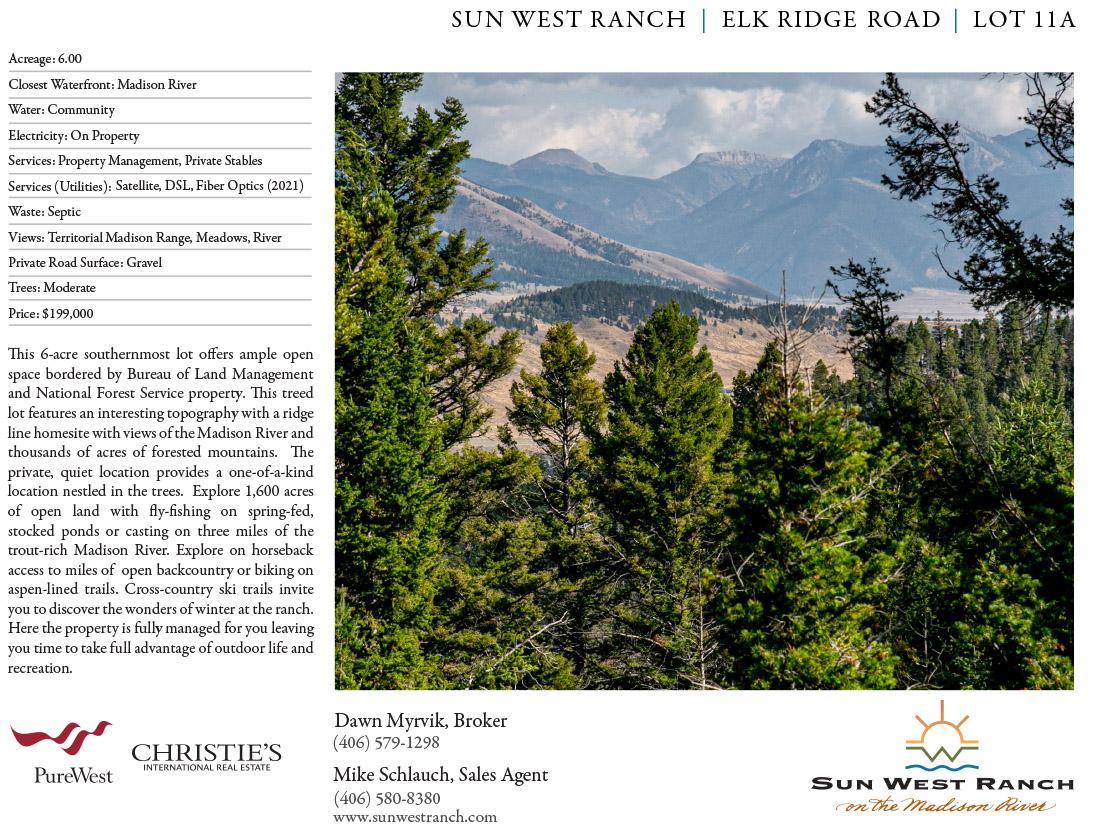 Sun West Ranch - Elk Ridge Road - Lot 11A