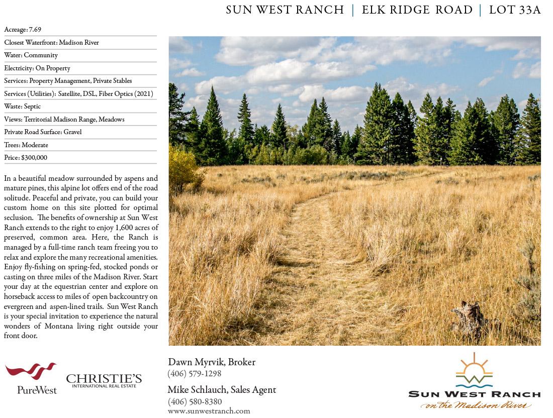 Sun West Ranch - Elk Ridge Road - Lot 33A
