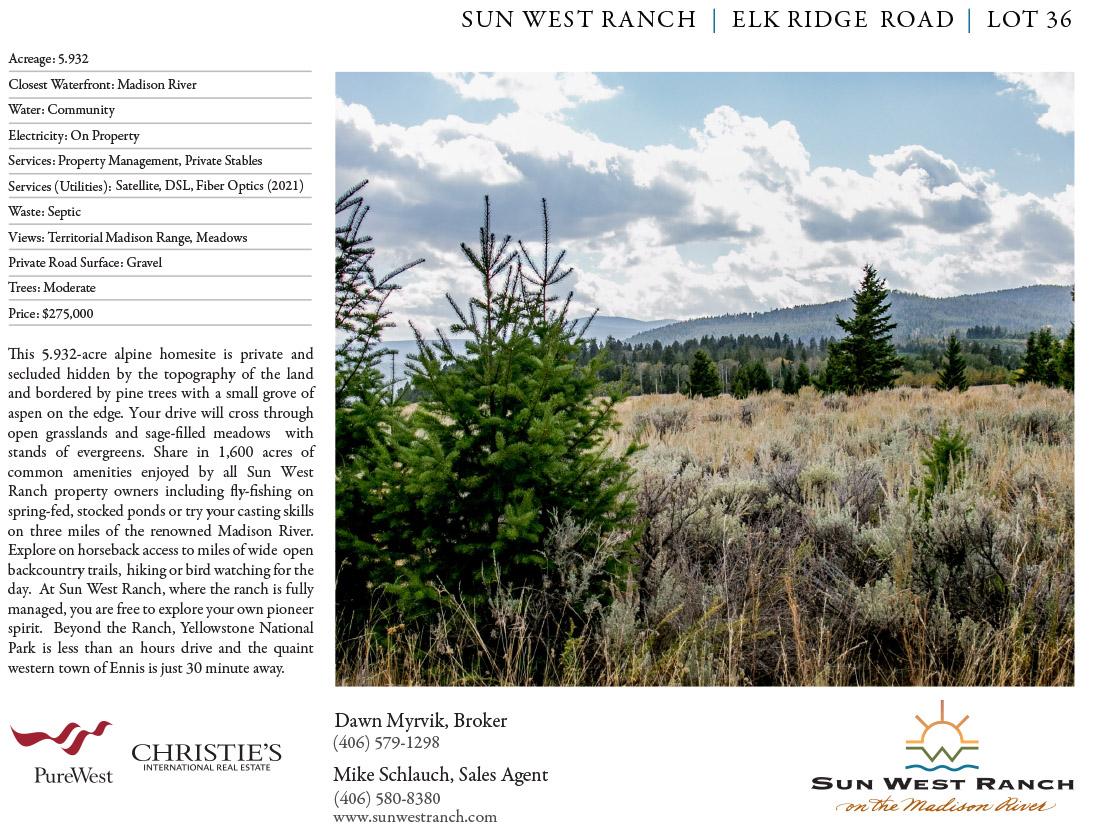 Sun West Rancy - Elk Ridge Road - Lot 36